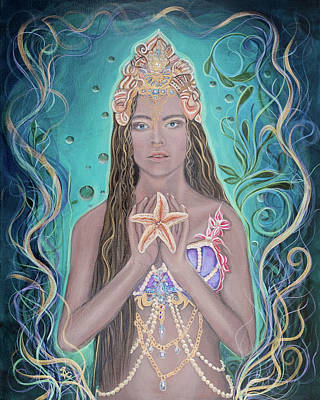 Wall Art - Painting - Goddess Of The Sea by Angel Fritz