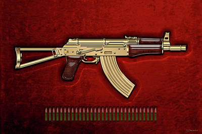 Gold A K S-74 U Assault Rifle With 5.45x39 Rounds Over Red Velvet   Art Print by Serge Averbukh