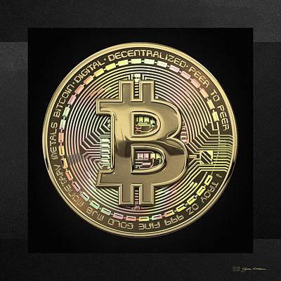 Gold Bitcoin Effigy Over Black Canvas Original