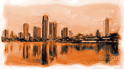 Surfing Art Painting - Gold Coast Skyline  by Gull G