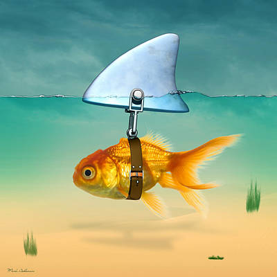 Cute Cartoon Painting - Gold Fish  by Mark Ashkenazi