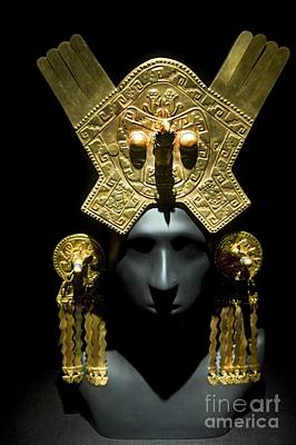 Human Head Photograph - Gold Headdress, Chimu Imperial by Tony Camacho