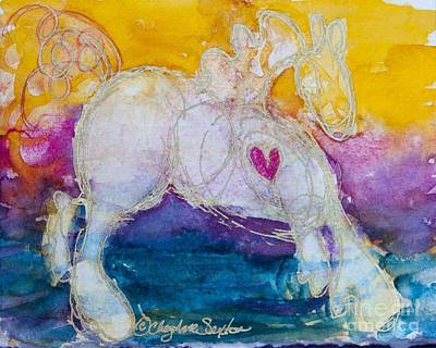 Antique Maps - Gold Hearted Dancing Pony w/a Pink Heart watercolor by CheyAnne Sexton