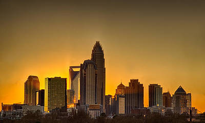 Golden Charlotte Skyline Art Print by Alex Grichenko