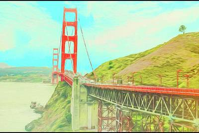 Digital Art - Golden Gate Bridge by Rusty R Smith