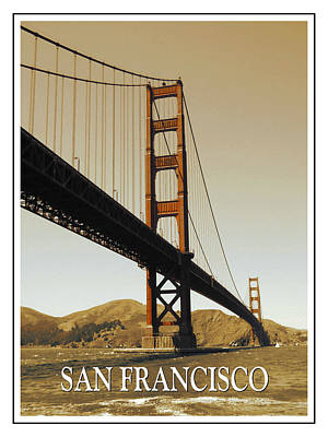 Photograph - Golden Gate Bridge San Francisco Poster by Art America Gallery Peter Potter