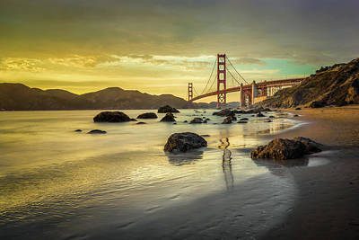 Headland Photograph - Golden Gate Sunset by James Udall