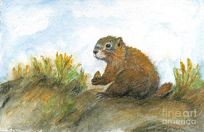 Maureen Painting - Golden Marmot by Maureen Ida Farley