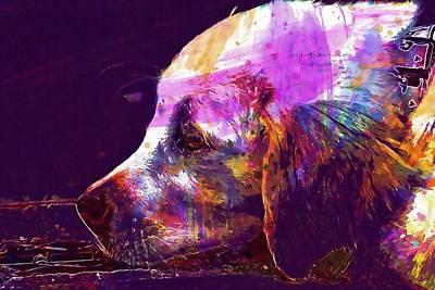 Retrievers Digital Art - Golden Retriever Golden Retriever  by PixBreak Art