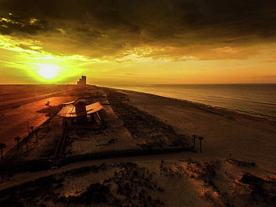 Photograph - Golden Sunrise At The Gulf State Pavilion by Michael Thomas