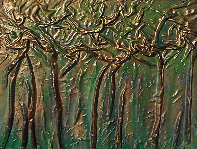 Mixed Media - Golden Trees by Angela Stout