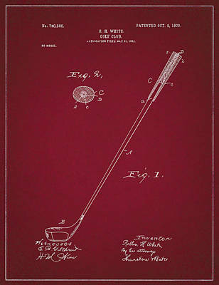 Digital Art - Golf Club Patent Drawing Dark Red 2 by Bekim Art