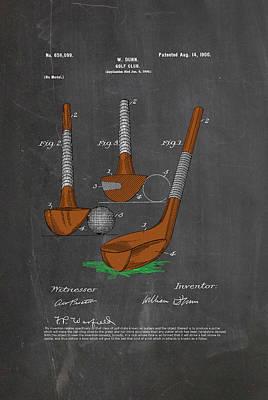 Billiard Drawing - Golf Club - Putter by Ray Walsh