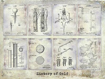 Golf Patent History Drawing Print by Jon Neidert