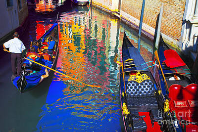 Venice Photograph - Gondolas And Channel Reflections by Jean-luc Bohin