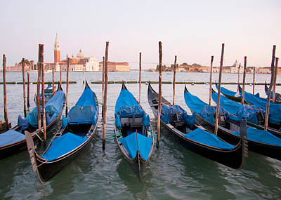 Gondolas At Dusk Art Print by Italian School