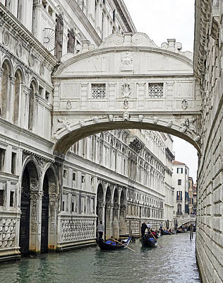 Gondolas Going Under The Bridge Of Sighs In Venice Italy Art Print
