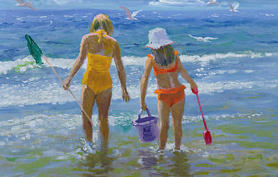 Sandcastles Painting - Gone Fishing  by William Ireland