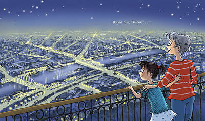 Wall Art - Digital Art - Good Night, Paris--with Text by Renee Andriani
