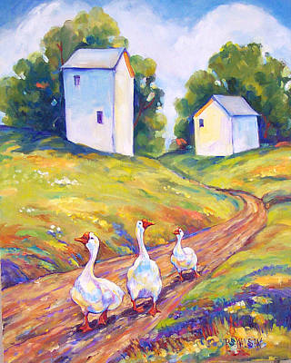 Geese Painting - Goose Walk by Peggy Wilson