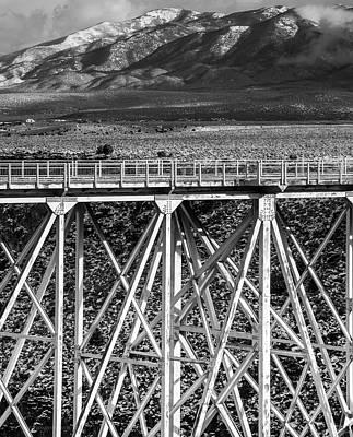 Gorge Bridge Black And White Art Print