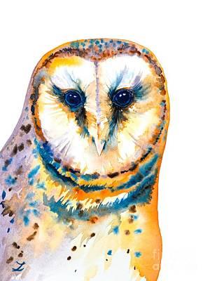 Painting - Gorgeous Barn Owl by Zaira Dzhaubaeva