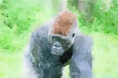 Painting - Gorilla Abstract Watercolor by Leah Lambart