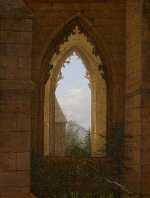 Monastery Painting - Gothic Windows In The Ruins Of The Monastery At Oybin by Carl Gustav Carus