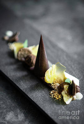 Photograph - Gourmet Modern Deconstructed Chocolate Cake And Dried Fruit Dess by Jacek Malipan