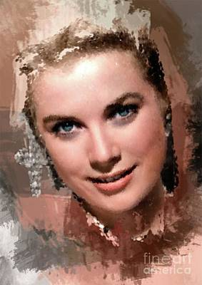 Grace Kelly Painting - Grace Kelly, Vintage Hollywood Actress by Mary Bassett