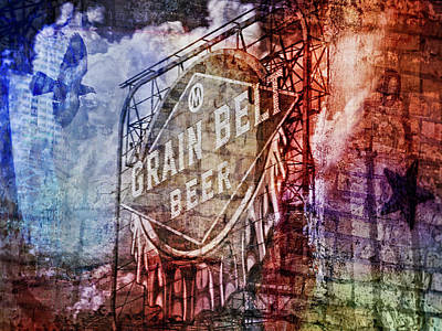 Digital Art - Grain Belt Beer Sign by Susan Stone