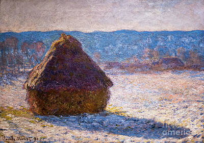 Painting - Grainstack Snow Effect by Claude Monet