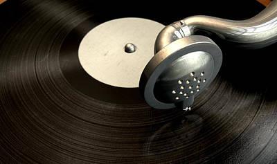 Vinyl Record Digital Art - Gramophone And Record by Allan Swart