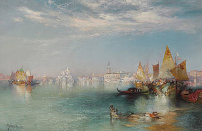 Boats In Reflecting Water Painting - Grand Canal  Venice by Thomas Moran