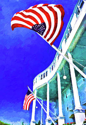 Digital Art - Grand Hotel Flags by Dennis Cox Photo Explorer
