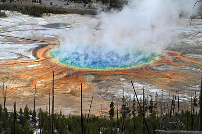 Grand Prismatic Springs In Yellowstone National Park Art Print by Pierre Leclerc Photography