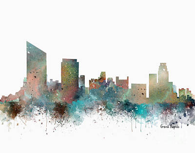 Painting - Grand Rapids Michigan Skyline by Bri B