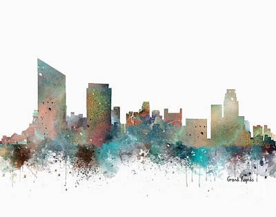 Grand Rapids Painting - Grand Rapids Michigan Skyline by Bri B