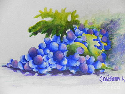Cookbook Painting - Grapes by Chrisann Ellis