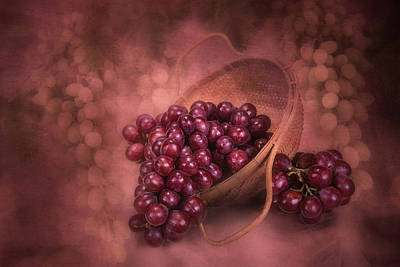 Wicker Photograph - Grapes In Wicker Basket by Tom Mc Nemar