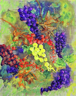 Malbec Mixed Media - Grapes On The Vine Art 3 by Ken Figurski