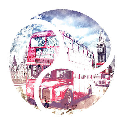 Abstract Sights Digital Art - Graphic Art London Westminster Bridge Streetscene by Melanie Viola