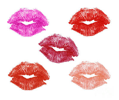 Mouth Photograph - Graphic Lipstick Kisses by Blink Images