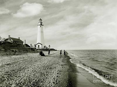 Michigan Port Huron Photograph - Gratiot Light Circa 1900  by Jon Neidert