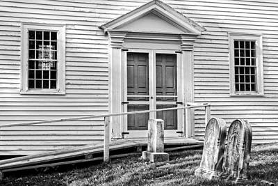 Graveyard Digital Art - Graveyard Old Country Church Black And White Photo by Keith Webber Jr