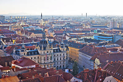Photograph - Graz City Center Aerial View by Brch Photography