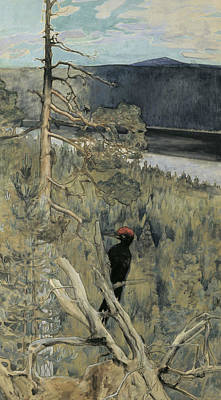 Painting - Great Black Woodpecker by Akseli Gallen-Kallela