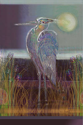 Great Blue Heron Art Print by Lydia L Kramer