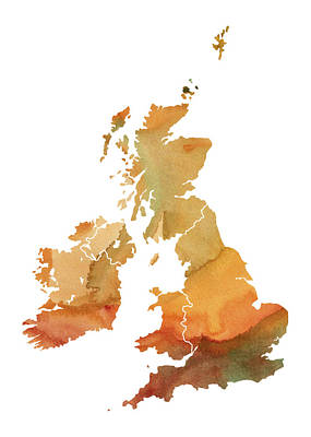 Images Of Ireland Digital Art - Great Britain Watercolor Map by Chris Smith