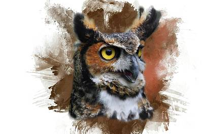 Digital Art - Great Horned Owl Two by Suzanne Handel
